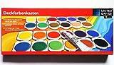 Deckfarbenkasten - Handlicher Tuschkasten für Schule und Hobby - 24 Farben und eine Tube Deckweiß