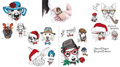 Cani tatuaggi animale tatuaggi bunt 4fogli set per feste e divertimento