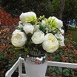 nabati Künstliche Seide Pfingstrose Blumenstrauß Home Dekoration Hochzeit Bouquet (weiß)