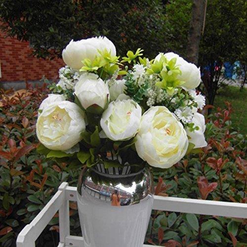 GODHL Künstliche Pfingstrose Silk Blumen Bouquet Für Hochzeit Party Haus Blumenstrauß Dekoration weiß