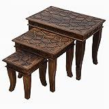 Valentinstag Geschenk, Dekorative rustikale Stil Mango Holz Nisttisch Satz von 3 fur Wohnzimmer Schlafzimmer zu Hause decor