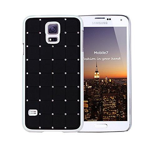 Buona qualità Samsung Glaxay S4 CRISTALLO DI LUSSO Croce Diamond Black Bling duro della copertura con telaio bianco per Samsung Glaxay S4