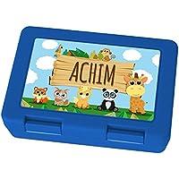 Preisvergleich für Brotdose mit Namen Achim - Motiv Zoo, Lunchbox mit Namen, Frühstücksdose Kunststoff lebensmittelecht