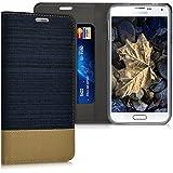 kwmobile Funda para Samsung Galaxy S5 / S5 Neo / S5 LTE+ / S5 Duos - Case con tapa cover de tela con cuero sintético - Carcasa plegable azul oscuro marrón