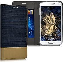 kwmobile Funda Flip Case para Samsung Galaxy S5 / S5 Neo / S5 LTE+ / S5 Duos - Funda protectora Bookstyle de polipiel y tela en azul oscuro marrón