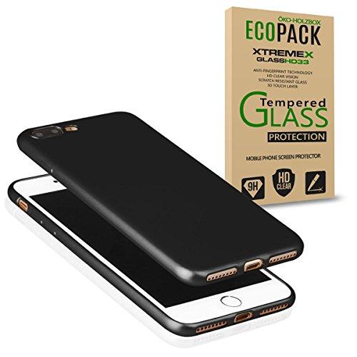 EGO® Luxury Case Slim pour le téléphone iPhone 7 Plus noir Matt Metallic Silikon Bumper coquille couverture Anti-empreintes satin non-slip arri?re Blanc + verre trempé