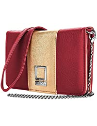 Vangoddy Wine / Gold Ladies' Handbag Clutch For Zte Phones (MB_LENLEA136_ZTE)