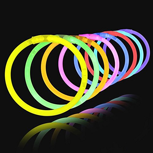 er 100 Stück - Bunt - Inkl. Verbinder - Glowstick Partyset Armbänder (Outdoor-party-ideen Für Erwachsene)