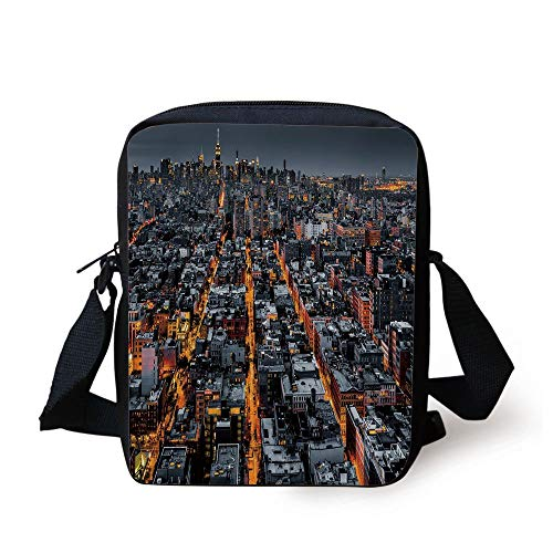 LULABE City,Avenues Converging Towards Midtown in New York America Architecture Aerial,Marigold Grey Black Print Kids Crossbody Messenger Bag Purse