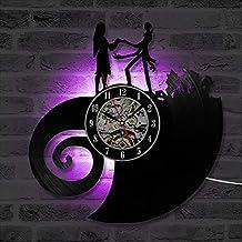 e746c494d2d3 Pesadilla clásica Antes de Navidad Amor Disco de Vinilo Reloj de Pared CD LED  Reloj de