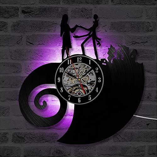 Pesadilla clásica Antes de Navidad Amor Disco de Vinilo Reloj de Pared CD LED Reloj de Pared Reloj silencioso LED Luz Decoración para el hogar