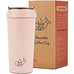 bioGo Cup | Rice Husk Fibre | BPA-Free, Double Wall Insulation Reusable Coffee Cups | On-The-Go Travel Mug | Screw Tight Lid, Secure Mouthpiece | Textured Grip | Ultra Lightweight |(450ml, Faded Pink)
