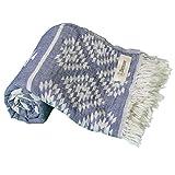 Bersuse 100% Cotone - Asciugamano Turco Teotihuacan - Peshtemal Fouta per Bagno e Spiaggia - Pestemal Tessuto a Mano con Design Azteco - 100X180 cm, Blu Scuro