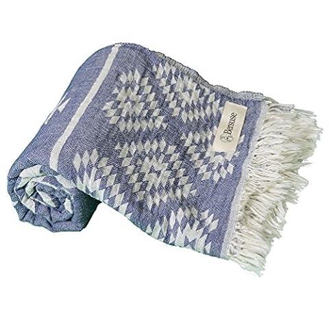Bersuse 100% coton - Teotihuacan Serviette turque - Drap de bain, serviette de plage en Fouta Peshtemal - Pestemal tissé à la main avec un design aztèque - 100X180 cm, Bleu Marine