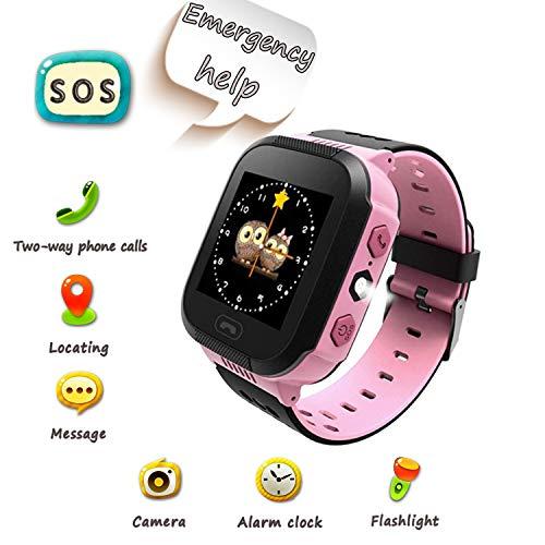 Smartwatch pour Enfants, Appel d'urgence SOS, localisation GPS, Zone de sécurité, Appareil Photo, réveil, Lampe de Poche, Jeu numérique, Montre Intelligente pour Enfants de 3 à 14 Ans (Rose)...