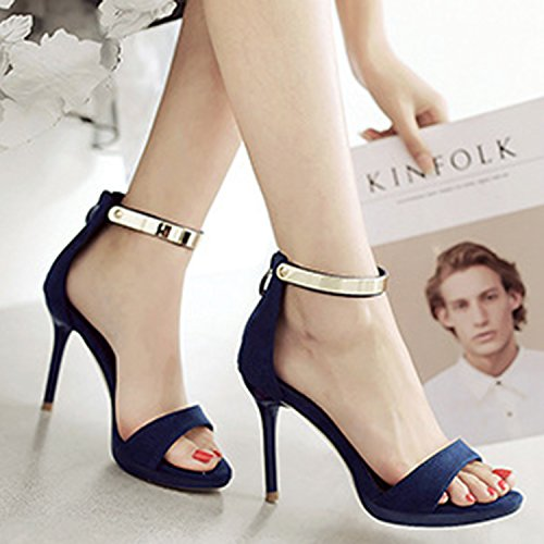Azbro Women's Fashion Stiletto Heels Ankle Strap Sandals Blue