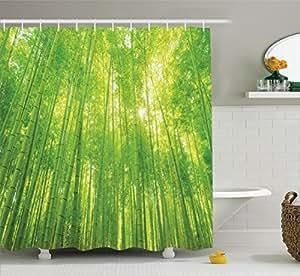 Bambou d cor rideau de douche ensemble par ambesonne for Plante bambou salle de bain