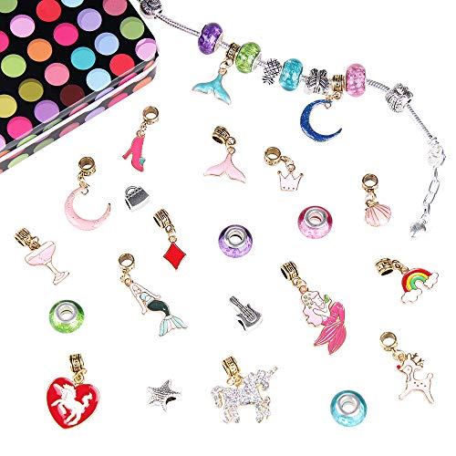 Nabance Charm Armband Kit DIY Handwerk Meerjungfrau Anhänger Perle Silber überzogene Kette Mädchen DIY Schmuck Geschenke Armband Bastelset für Mädchen