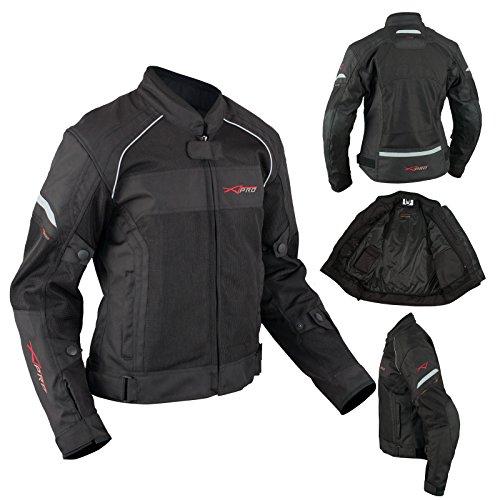 A-Pro Motorrad Textil Damenjacke Wasserdichte Atmungsaktivem Mesh Schwarz XS (Mesh-tech Motorrad-jacke)