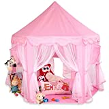 KIDUKU® Princess Castle Play Tent Playhouse Play cube with hanging baskets, 3 colours available (Pink)