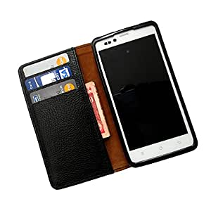 i-KitPit PU Leather Wallet Flip Case For Micromax Canvas Fun A76 (BLACK)