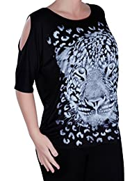 EyeCatch Plus Size - Cairo Tiger Womens Draped Off-the-Shoulder Cut Tunic Ladies Top