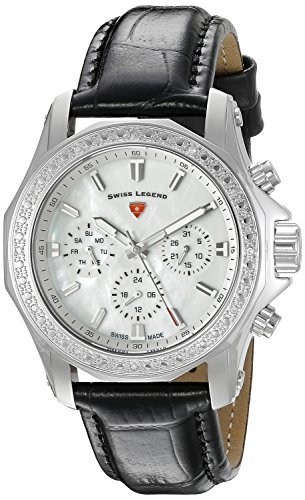 Swiss Legend Women's Islander 40mm Black Genuine Leather Band Steel Case Swiss Quartz Watch 16200SM-02