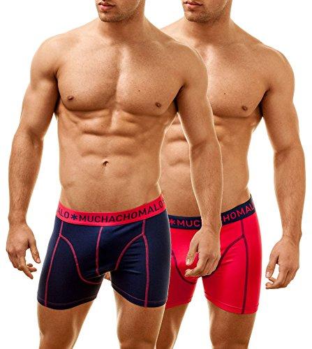 Muchachomalo Uomo Boxer 2 Pack SOLID Multicolore