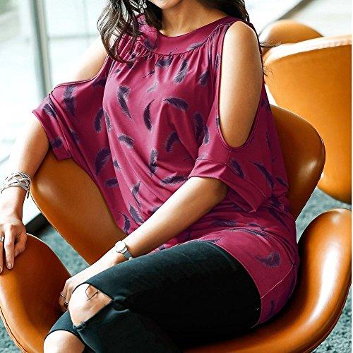Minetom Moda Donna Estate Collo a U Camicia Manica Corta Maglietta Blusa T-Shirt Senza Spalline Piuma Stampa Camicetta Rosso