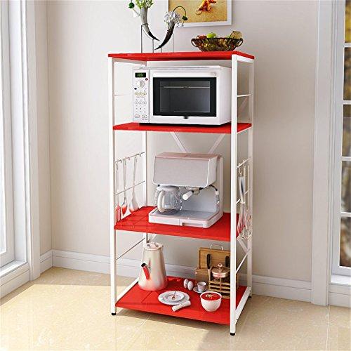 Rote-speicher-kabinett (Möbeldekoration Regal Küche Regale Mikrowellen-Rack Creative Multifunktions-Speicher Rack Floor Stand 4 Tiers Praktisch und solide Küchenregale CRS-ZBBZ ( Farbe : Rot ))