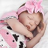 ZIYIUI 22inch 55cm Schlafendes Mädchen Puppe Reborn Babypuppe Neugeborenes Babypuppe Lebensechte Soft Silikon Vinyl Magnetic Dummy