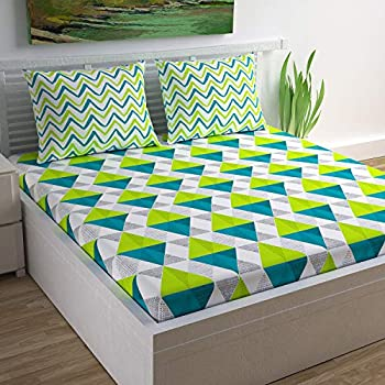 Divine Casa 100% Cotton Geometric Print Mix N Match Bedsheet for Double Bed (Lime, Teal and Off White)