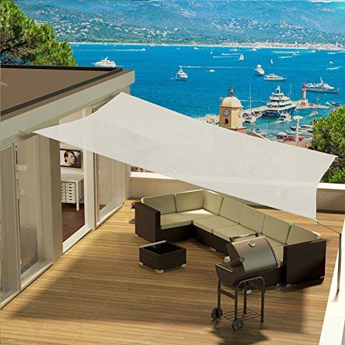 Eglemtek tenda parasole quadrata a vela telo da sole da esterno protezione solare da raggi uv completo di funi per ancoraggio disponibile in vari colori e misure (5x5 m, avorio)