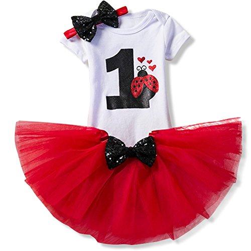NNJXD Mädchen Newborn 1. Geburtstag 3 Stück Outfits Strampler + Tutu Kleid + Stirnband Größe (1) 1 Jahr Rot