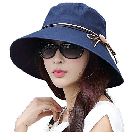 909cf60d Siggi Ladies Summer Bucket Cord Sun Hat Packable Wide Brim UPF50+ for Women  Navy