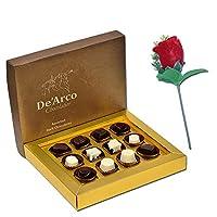 De'Arco Chocolatier Chocolates Valentine Day Gift for Girlfriend Boyfriend Husband Wife, Premium Luxury Chocolates, 12pcs + Free Rose