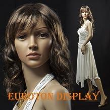 Euroton SF-4 - Maniquí femenino (incluye 2 pelucas de color castaño oscuro y negro y soporte de metal), brazos y piernas articulados