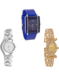 Xforia Girls Watch New Collection White, Silver & Gold Stainless Still Analog Watches For Ladies Pack Of 3 Low...