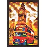 Mad Masters London Red Bus And Big Ben Oil Painting 1 Piece Wooden Framed Painting |Wall Art | Home Décor | Painting Art | Unique Design | Attractive Frames