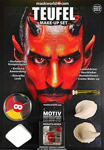 Hochwertiges Halloween Schminke Komplett-Set Teufel mit perfekt abgestimmten Komponenten - Make-Up - Hörner - Hautkleber - Kontaktlinsen