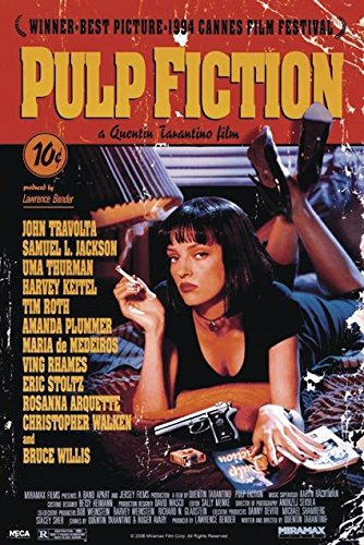 Moviestore Uma Thurman als Mia Wallace in Pulp Fiction 91x60cm Schwarzwei/ß-Posterdruck