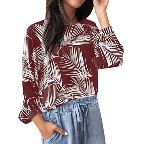 Writtian Herbst und Winter Elegant große größen Baggy Rundhals Hemd Damen Langarm Casual Tops Blatt drucken Bluse Casual Täglichen Bluse Oberteile