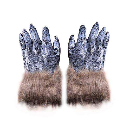 Ksruee 1 Paar Halloween Horror Wolf Greifer Werwolf Handschuhe Lange Haare Tier Simulation Wolf Greifer ()