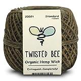 Mèche en chanvre recouverte de cire d'abeille naturelle 100 % Organique | Twisted Bee (60m x Taille standard)