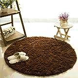 Teppich, CAMAL Runde Seide Wolle Material Yoga Teppich für Wohnzimmer Schlafzimmer und Bad (200cm, Braun)