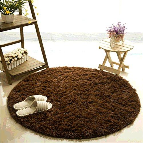 CAMAL Alfombras, Material de Lana de Seda Artificial Redonda Alfombras de Yoga para Sala de Estar Dormitorio...