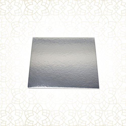 10 x Tortenuntersetzer beidseitig - SILBER spiegelnd - eckig - 24 x 24 cm