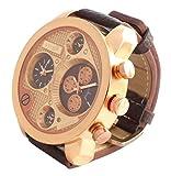 Banger Dualtime Gold Chocolat Chronograph for Men Double Temps Zwei Zonen Navigator Herrenuhr XL Atlas Modell mit 2 Uhrwerken Weltzeituhr Schwarz Silber mit Lederarmband Kontrastnähte