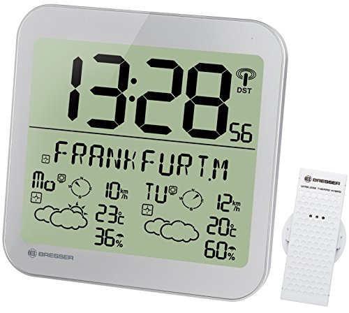 Bresser Estación meteorológica LCD con Reloj, de Pared, con pronóstico del Tiempo de 4días y Sensor...