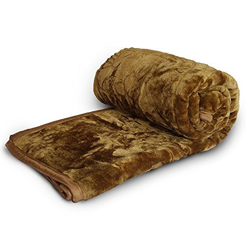 Little India Floral Embossed Soft Mink Double Blanket - Golden Brown (DLI4SBK203)